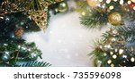 christmas ornament   greeting... | Shutterstock . vector #735596098