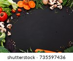 healthy food background  fresh... | Shutterstock . vector #735597436