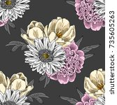 vector seamless pattern with... | Shutterstock .eps vector #735605263