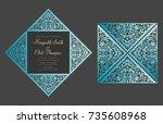 laser cut four fold card... | Shutterstock .eps vector #735608968