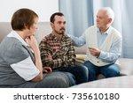 elderly grandfather talking...   Shutterstock . vector #735610180