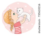 cute girl and little cat vector ... | Shutterstock .eps vector #735610216