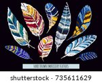 embroidery colorful pattern ... | Shutterstock .eps vector #735611629
