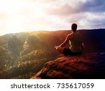 lens defect. man meditating in... | Shutterstock . vector #735617059