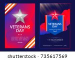 veterans day poster or cover... | Shutterstock .eps vector #735617569