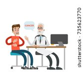 patient with cancer. doctor... | Shutterstock .eps vector #735623770