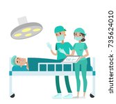 doctors doing surgery on... | Shutterstock .eps vector #735624010