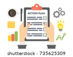 action plan concept... | Shutterstock .eps vector #735625309
