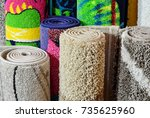 many colorful carpets in the... | Shutterstock . vector #735625960