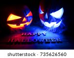 the concept of halloween. two... | Shutterstock . vector #735626560