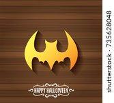 vector halloween golden bat... | Shutterstock .eps vector #735628048