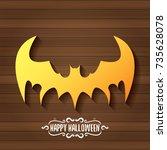 vector halloween golden bat... | Shutterstock .eps vector #735628078