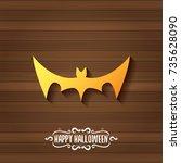 vector halloween golden bat... | Shutterstock .eps vector #735628090