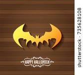 vector halloween golden bat... | Shutterstock .eps vector #735628108