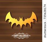 vector halloween golden bat... | Shutterstock .eps vector #735628174