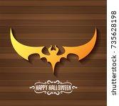 vector halloween golden bat... | Shutterstock .eps vector #735628198