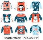 winter and christmas vector... | Shutterstock .eps vector #735629644