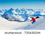 skiing vallee blanche chamonix... | Shutterstock . vector #735630244