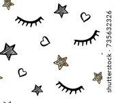 vector cute seamless pattern... | Shutterstock .eps vector #735632326