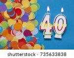 number 40 celebration candle... | Shutterstock . vector #735633838