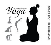 yoga for pregnant women   a set ... | Shutterstock .eps vector #73563409
