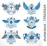 set of luxury heraldic vector...   Shutterstock .eps vector #735635614
