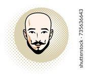 caucasian man face features... | Shutterstock .eps vector #735636643