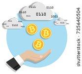 coins bitcoin fall into the... | Shutterstock .eps vector #735640504