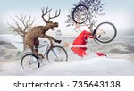 funny lame and bad santa claus... | Shutterstock . vector #735643138