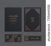 luxury wedding invitation or... | Shutterstock .eps vector #735644500