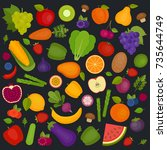 fruits and vegetables... | Shutterstock .eps vector #735644749