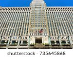 Small photo of CHICAGO - MAY 12: Entrance to the Merchandise Mart building in downtown Chicago on May 12, 2017