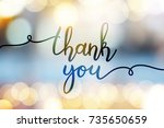 thank you  vector lettering on... | Shutterstock .eps vector #735650659