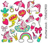 girl's vector patches | Shutterstock .eps vector #735652903