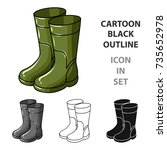 rubber boots icon in cartoon... | Shutterstock .eps vector #735652978