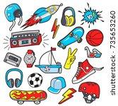 boy's vector patches | Shutterstock .eps vector #735653260