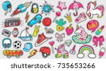 big set of girl's and boy's... | Shutterstock .eps vector #735653266