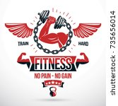 weight lifting gym conceptual... | Shutterstock .eps vector #735656014