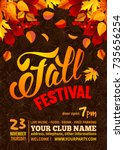 fall festival flyer or poster... | Shutterstock .eps vector #735656254