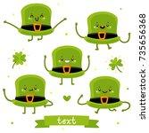 cute cartoon hat for saint... | Shutterstock .eps vector #735656368