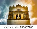 minaret of mosque bou ftetah in ... | Shutterstock . vector #735657700