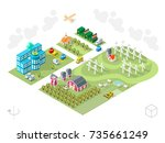 set of isometric high quality... | Shutterstock .eps vector #735661249