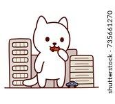 giant monster cat destroying... | Shutterstock .eps vector #735661270