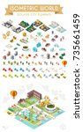 set of isometric high quality... | Shutterstock .eps vector #735661459