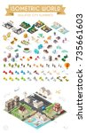 set of isometric high quality... | Shutterstock .eps vector #735661603
