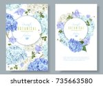 Stock vector vector vertical banners with blue and white hydrangea flowers on white background floral design 735663580