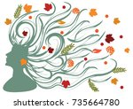 female image of autumn   face... | Shutterstock .eps vector #735664780