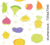 cartoon vector vegetables and... | Shutterstock .eps vector #735667540