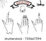 vector halloween set of the... | Shutterstock .eps vector #735667594