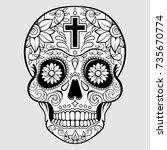 sugar skull with floral design... | Shutterstock .eps vector #735670774